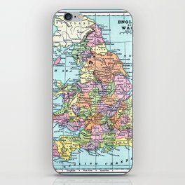 Vintage Map  of England and Wales iPhone Skin