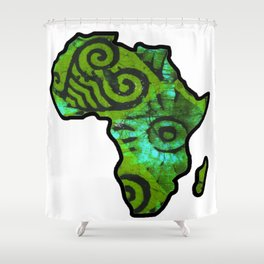 Green Batik Africa Map Shower Curtain