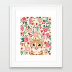 Tabby Cat florals cute spring garden kitten orange tabby cat lady funny girly cat art pet gifts  Framed Art Print