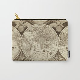 Antique world map with sail ships, sepia Carry-All Pouch