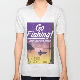 Go Fishing! Unisex V-Neck