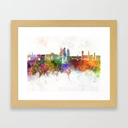 Sucre skyline in watercolor background Framed Art Print