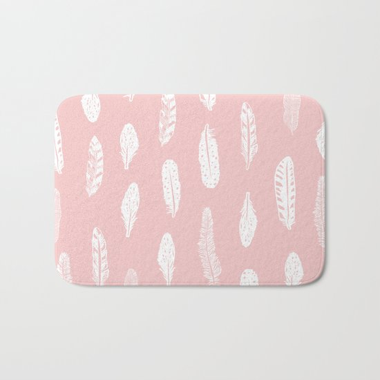 Feather pink and white minimal feathers pattern nursery gender neutral boho decor Bath Mat