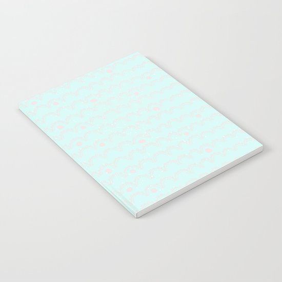 Merry aqua christmas - Funny abstract lines and dots on turquoise backround Notebook