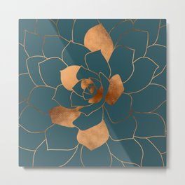 Abstract Metal Copper Blossom on Emerald Metal Print