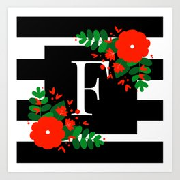 F - Monogram Black and White with Red Flowers Art Print
