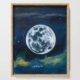 Full Moon Mixed Media Painting Serving Tray