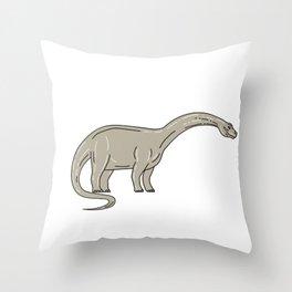 Brontosaurus Dinosaur Looking Down Mono Line Throw Pillow
