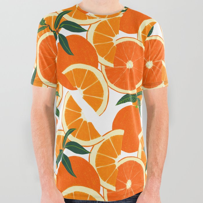 Orange Harvest - White All Over Graphic Tee