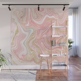 Modern pink coral marble gold glitter pattern Wall Mural