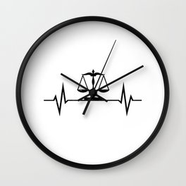 Scales Of Justice Heartbeat Lawyer Judge Wall Clock