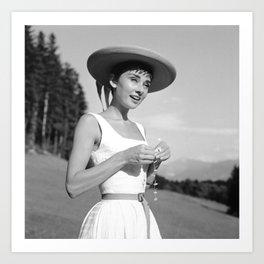 Audrey Hepburn auf dem Burgenstock 11 Art Print