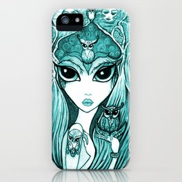 Owlette, The Owl Queen, in Aqua.  Original Illustration Artwork by Sheridon Rayment  iPhone Case