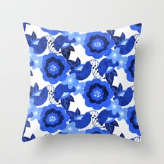 The Flower Blues Throw Pillow