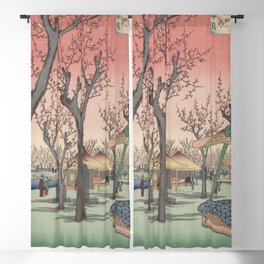 Plum Garden Kamata Ukiyo-e Japanese Art Blackout Curtain