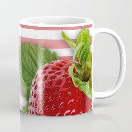 Strawberry Skin and Leaves Pink Stripes Coffee Mug