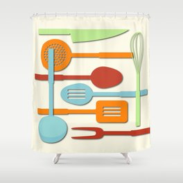 Kitchen Colored Utensil Silhouettes on Cream III Shower Curtain
