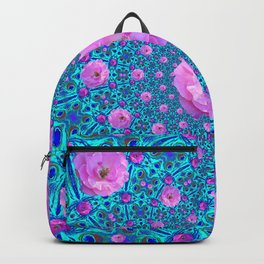 100 PINK ROSES & TURQUOISE ART Backpack