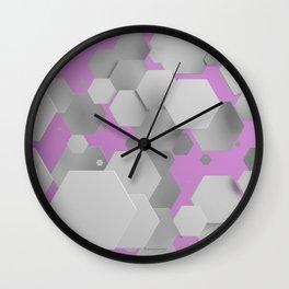 White hexagons on purple Wall Clock
