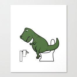 TRex dinosaur arms toilet funny gift Canvas Print