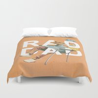 dad Duvet Covers featuring Rad Dad by Heather Landis