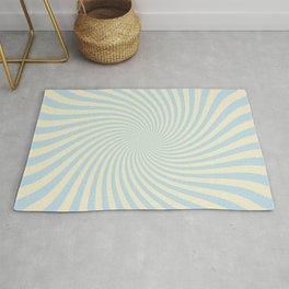 Pastel Blue And Cream Retro Spiral Op Art Pattern Rug