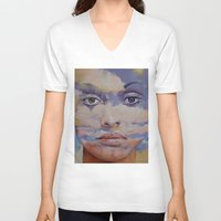 mona lisa V-neck T-shirts featuring Mona Lisa by Michael Creese