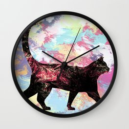 Abstract Cat Wall Clock