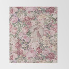 Romantic Flower Pattern And Birdcage Throw Blanket
