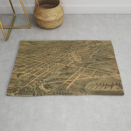 Vintage Pictorial Map of Akron Ohio (1870) Rug