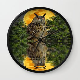 NIGHT OWL  FULL MOON WATER REFLECTION Wall Clock
