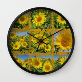 Collage of yellow sunflowers in summer, cheerful yellow flowers in front of bright blue sky Wall Clock