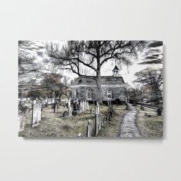 Sleepy Hollow Church Art Metal Print