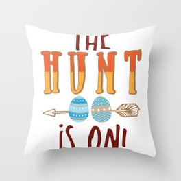 The Hunt Is On Cute Easter Egg Hunting design Throw Pillow