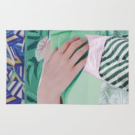 Wanda Goes on Vacation - green modern collage Rug