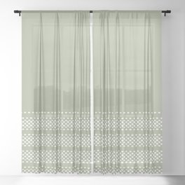Zoe Dots Smudgy Minimalist Striped Solid Pattern in Sage Green and White Sheer Curtain
