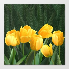 Yellow Tulips with Pattern Canvas Print
