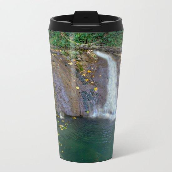 Autumn leaves in the waterfall Metal Travel Mug