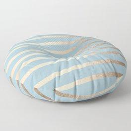 Abstract Drawn Stripes Gold Tropical Ocean Sea Blue Floor Pillow