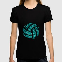 Turquoise Volleyball Wordcloud - Gift T-shirt
