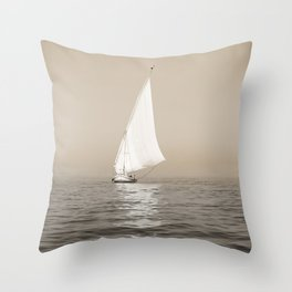 Ship on the Nile Throw Pillow