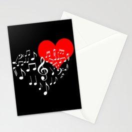 Singing Heart White On Black Stationery Cards