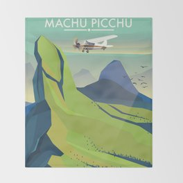 machu picchu travel poster Throw Blanket