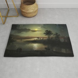 Classical Masterpiece 'Evening Scene with Full Moon & Persons' by Abraham Pether Rug