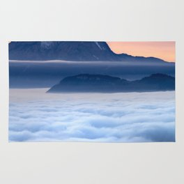 Sea of Fog in the Alps Rug