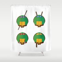 ninja turtles Shower Curtains featuring Ninja Turtles by East Atlantic Design