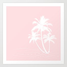 Millennial Pink White Tropical Palm Hawaii Illustration Art Print