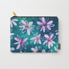 Daisy Flowers | Whimsical Watercolor Daisies on Cyan BlueTeal Carry-All Pouch