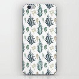 turquoise fern pattern iPhone Skin