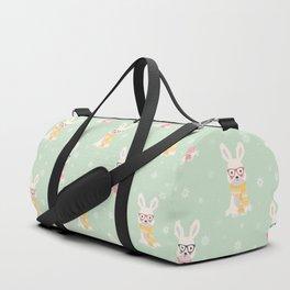 White rabbit Christmas pattern 001 Duffle Bag